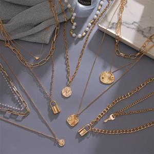 2020 Урожай Многослойная золото Choker ожерелья для женщин девушки New Brinco Pearl ожерелье ювелирных изделий способа
