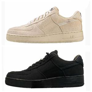 2020 Nova Stussy 1 Low Running Shoes Triplo Preto Mens Pedra instrutor Des Chaussures Mulheres Sports Sneakers Tamanho 36-45