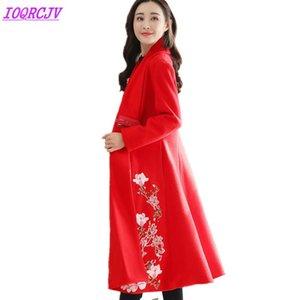 2020 Outono Inverno mulheres lã Jacket Brasão Fashion Boutique bordado de lã pano Casacos tamanho Plus solto Brasão IOQRCJV Q138