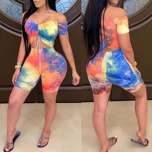 Tie Dyeing Print Off Shoulder Slash Neck Tracksuit 2PCS 2020 Women Lace up Short Sleeve T shirt Crop Top High Waist Shorts