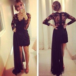 Black Lace Prom Dresses High Quality Cocktail Dresses V Neck Detachable Train Lace Long Sleeves Evening Party Gown vestidos de festa
