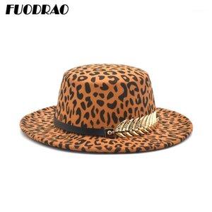 FuoDrao New Leopard Print Men 's Fedoras Hat, 숙녀 가짜 양모 혼합 재즈 모자, 와이드 브림 간단한 평면 모자 P141