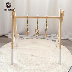 Facciamo 3Pc Bambino di dentizione Hanging Toy Set di legno sconcerta i giocattoli per i bambini Passeggino ciondolo bambino della base della campana Rattle Presepe Mobiles