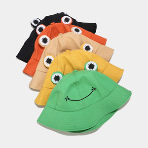 DHL New Cute Green Black Frog Print Fisherman Panama Cap Bob Chapeau Summer Cartoon Bucket Hat For Women Ladies