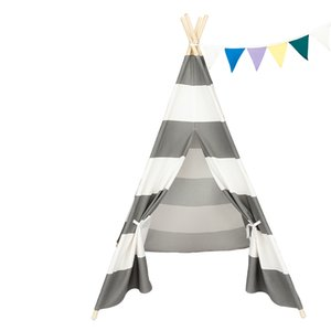 Kids Foldable Teepee Play Tent, Playhouse Classic Indian Style Play Tent and Carry Bag, Walls with Door, Window for US UK, White and Gray