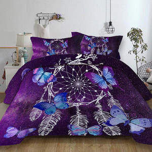 Butterfly dream catchers Bedding Set purple Duvet Cover With Pillowcases Twin Full Queen King Size Bedclothes 3pcs home textile