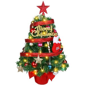 Tabletop Christams Tree Artificial Desktop Christmas Trees With String Light Hanging Ornaments Xmas Party Supplies Topper Star sqchqO