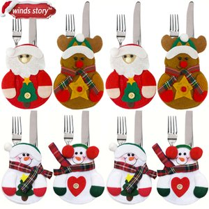 Gift 8pcs Xmas Snowman Kitchen Party Tableware Holder Ornament Bag Christmas Decorations for Home Table
