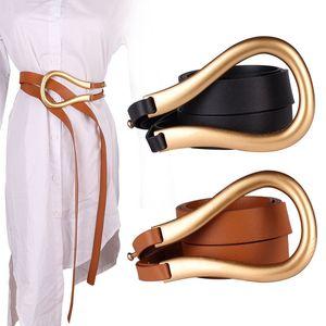 Ladies Belt High Quality Large Metal Buckle Runway Fashion Double Belt Black