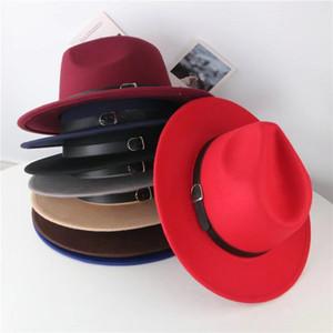 Fabbrica Ins Nuovi Cappelli di moda 7 colori Madre e me Elegante Adulti solidi Fedora Hat Band Flat Brim Jazz Cappelli Bambini Panama Caps