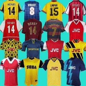 1986 02 05 Henry Bergkamp V. Persie 1995 레트로 90 92 94 97 Vieira Merson Adams 홈 멀리 3 축구 셔츠 축구 유니폼 짧은 유니폼