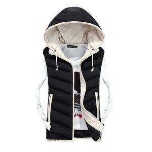 Autumn Winter Sleeveless Jacket Women Slim Hooded Zipper Short Coats Parkas Ladies Plus Size Waistcoat Warm Outwear 210204