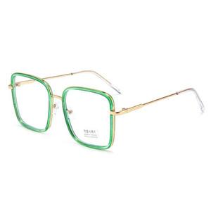 Light Blue Vintage bloqueo marco transparente vidrios cuadrados para las mujeres de los hombres de gafas de metal Gafas para la Lucha contra la computadora azul Gafas