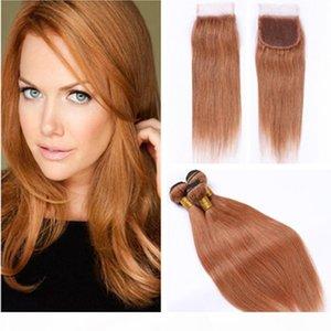 # 30 Brown peruanos extensiones del pelo humano Luz Directa tramas armadura con cierre de castaño medio rectas 3 ofertas de paquetes con cierre de cordón de 4x4