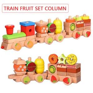 Montessori Niños de madera juguetes Forma de haya Forma a juego Fruta Arrastre Tren Educación Early Puzzle Bloques de construcción