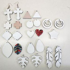 17 estilos Sublimación Pendientes en blanco Sublimación de doble cara Pendiente de hojas Forma de tibia DIY Pendiente regalo LLA231