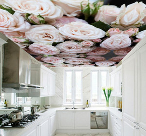 Custom 3d Ceiling Wallpaper for Hall Kitchen Room Hotel 3D Ceiling Murals European Rose Wall paper Large Photo mural