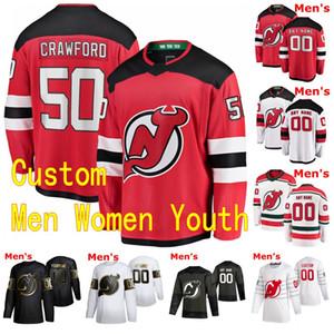 2020 2021 New Jersey Devils Hockey Jersey 18 Alexander Holtz 19 Dawson Mercer 27 Shakir Mukhamadullin 50 Corey Crawford personnalisé Cousu