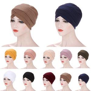 Muslim Turban Headwrap Hat for Women Pre-Tied Bandanas Chemo Beanies Caps Forehead Headscarf for Cancer Hair Accessories