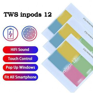 Wireless Bluetooth Headphones TWS inpods 12 Macaron V5.0 Stereo Cell Phone Earphones Sports Sweatproof Headphone Touch Earbuds