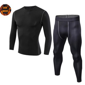 2Piece Men's Compression Suit Winter Warm Tracksuit Mens Rashguard Thermal Base layer Cycling Clothing Compression Training Sets