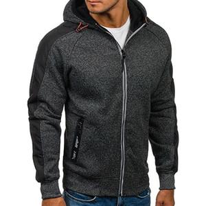 Мужские толстовки для толстовки зимняя мода повседневная мужская молния флис лоскутное пальто с капюшоном верхняя карманная одежда свободная толстовка