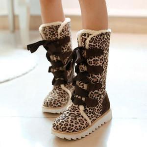 Mid Calf Snow Boots Platform Women Shoes Black Leopard Blue Lace Up Fur Boots Fashion Ladies Winter Footwear Plus Size 43