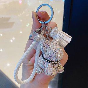 bande dessinée créative complète diamant ours houppe voiture trousseau pendentif mignon sac mâle et femelle porte-clés mignon cadeau de Noël cadeau GGB2453