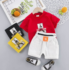 2021 new Summer baby suits short sleeve boys suits casual boys clothing sets T shirt+shorts pants 2pcs set baby boys clothes B3607