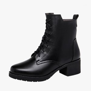 Size (33-43) Middle Heels 5CM Women Boots Snow Winter Shoes 2021 Ankle Platform Boots Ladies Genuine Leather Shoes Thick Sole1