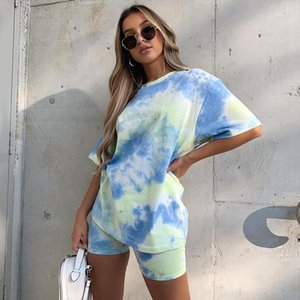 Tie Dye Colorful Print 2 Piece Set Casual Summer Gradient Colored T shirt Tight Leg Shorts Pants Set Women Tracksuit Streetwear