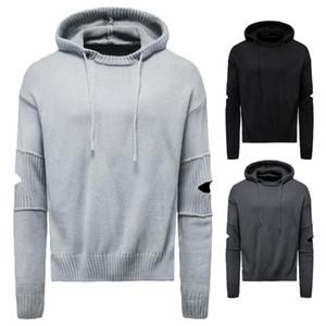 Sweaters pour hommes Hiver Pull en laine de laine à capuche décor arnaquée décor solide tricoting stretchy occasion style masculin chaleureux