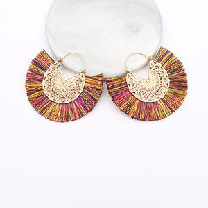 New Fashion Earrings Hollow High Quality Alloy Wire Fan Fringe Women's Earrings Social Party Fashion Accessories