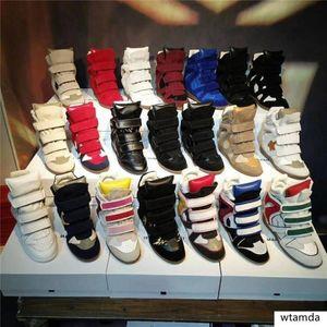 Classic Echtes Leder Isabel Bekett Leder-Leder-Getrimm-Wildleder-Keil Sneakers Frauen Marant Fashion Show Paris Neue Schuhe 21 Farben