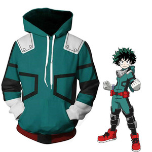 My Hero Academia Boku Izuku Midoriya Cosplay Costumes Anime Battle Hooded Jacket Hoodie Unisex fz2573