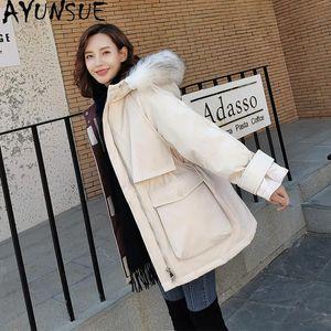 AYUNSUE femmes Veste d'hiver 90% de canard blanc Doudounes Femme réel fourrure de raton laveur Collier Parkas Femme Manteaux Ropa Mujer TN208