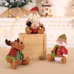 Novo enfeite de Natal boneca de pelúcia bonitinho Papai Noel Elk urso sentado postura janela desktop decor ano novo presente para crianças1