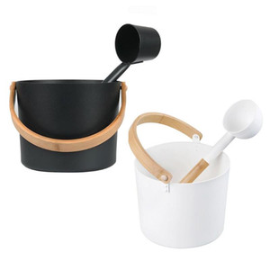 7L Luxurious Finnish Sauna Aluminum Bucket Matching Ladle Sauna Barrel With Long Handle Spoon Set Wood Room Vent
