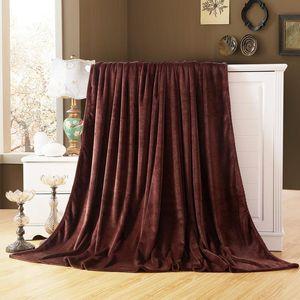 Soft Flannel Plain Bedspread Blanket Throws Fleece Blanket For Sofa Bed Car Office