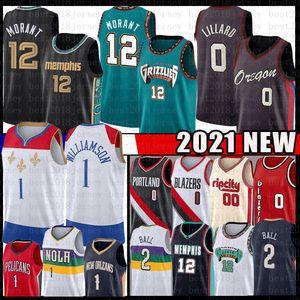JA 12 Ahlaki Zion 1 Williamson Damian 0 Lillard 2021 Yeni Basketbol Jersey Lonzo 2 Ball Carmelo 00 Anthony Formalar Erkek Yeşil Siyah