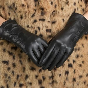 Fashion Autumn Winter Women Gloves Genuine Leather Gloves Wool Knitted Lining Warm Mitten Ladies Party Black Hand