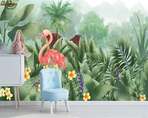 beibehang Custom 3d wallpaper mural medieval hand painted tropical rain forest flowers and birds background wall painting