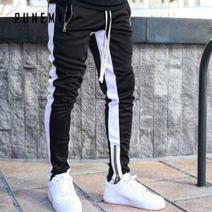 Punemy Fashion Side Stripe Carta Impresión Hop Hombre Pantalones Pantalones Pantalones Lace Up Joggers Pantalones Sleed Streetwear Hombres Swearspants Y200116