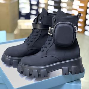 Femmes Bottes de Roi Bottes Nylon Derby Martin Bottes Top Qualité Cuir Chaussures Chaussures Noir Caoutchouc Sole Sole Plateforme Chaussures Nylon Pochette avec boîte