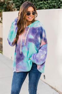 С капюшоном Tie Dye женщин толстовки Сыпучие Осень Зима с длинным рукавом женщин Дизайнер Tops Casual Горячие Продажа одежды