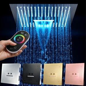 욕실 LED 샤워 헤드 3 기능 16 인치 광장 천장 샤워 헤드 스파 폭포 안개가 자욱한 304 스테인레스 스틸 크롬 블랙 골드 201105