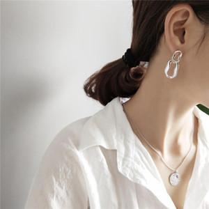 RUIYI Europeo especial en forma de 925 joyería de plata de ley geométrica mujeres pendientes hipérbole pendiente irregular minimalista