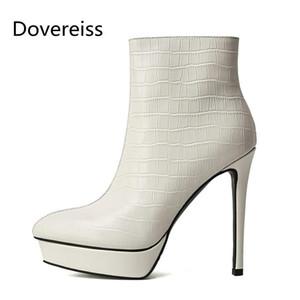Dovereiss Fashion Chaussures Femmes Hiver Sexy Élégant Blanc Blanc pointu Toe Concise Stiletos Stiletos Talons Bottines de cheville 33-40