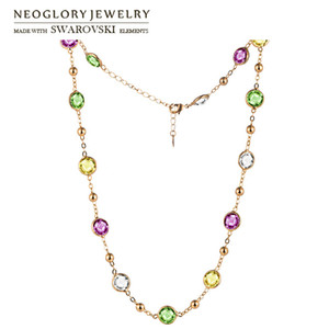 Neoglory Crystal Colorful Round Beads Long Charm Necklace Classic Two Uses Dress Party Embellished With Crystals From Swarovski J0108