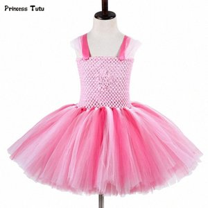Bébés filles Cartoon Pig Tutu Dress Halloween cosplay costume de Noël Rose enfants princesse robe de fête d'anniversai Tulle Robes NH8r #